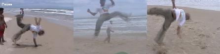Banzay practicing miudinho capoeira on the beach in Ilheus